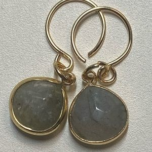 New Labradorite Gem Teardrop Briolette Earrings